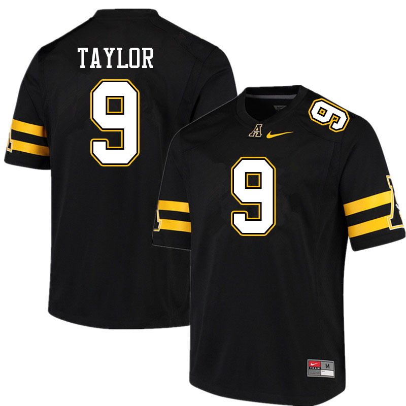 Men #9 Demetrius Taylor Appalachian State Mountaineers College Football Jerseys Sale-Black