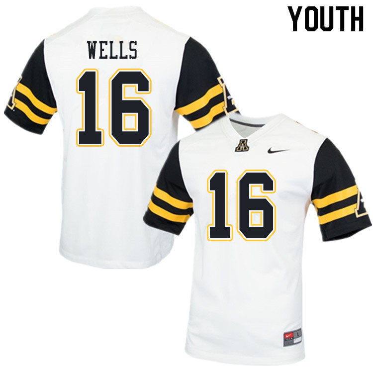 Youth #16 Christian Wells Appalachian State Mountaineers College Football Jerseys Sale-White