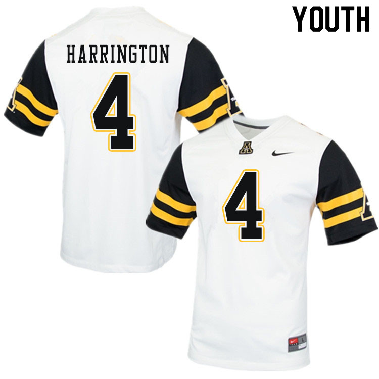 Youth #4 Daetrich Harrington Appalachian State Mountaineers College Football Jerseys Sale-White