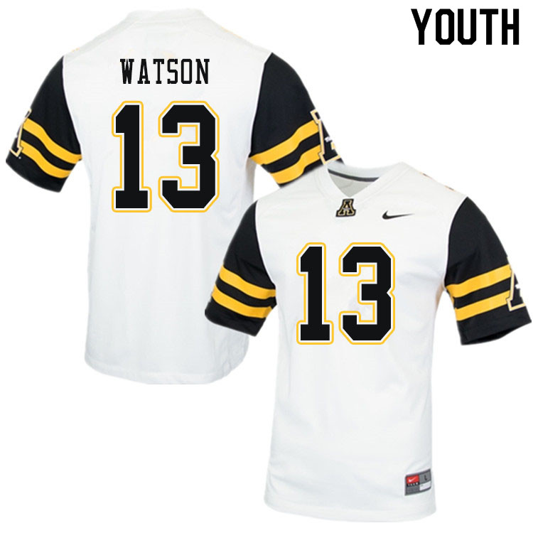 Youth #13 Keishawn Watson Appalachian State Mountaineers College Football Jerseys Sale-White
