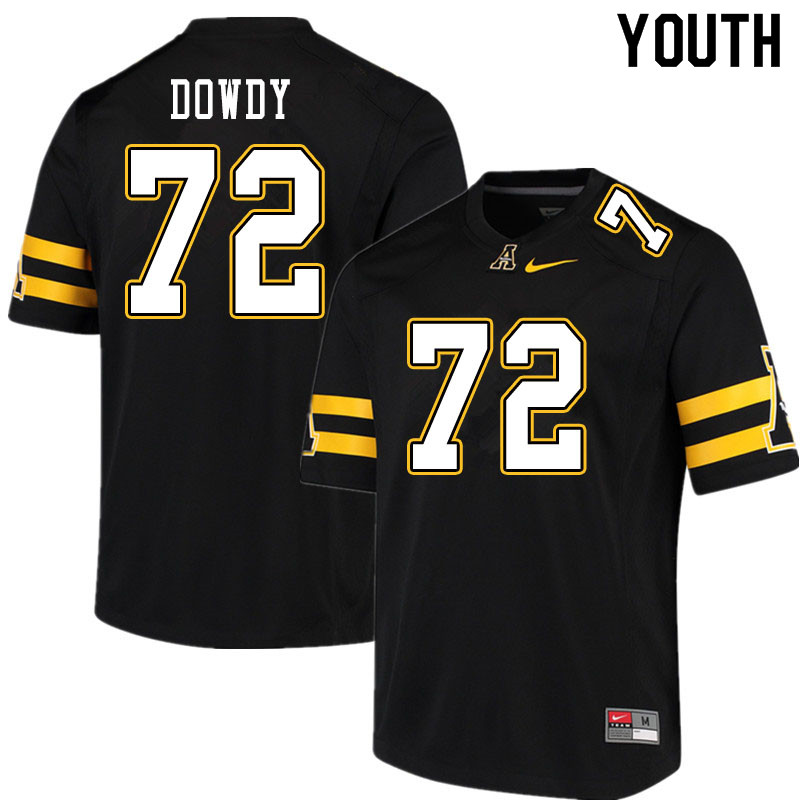 Youth #72 Larry Dowdy Appalachian State Mountaineers College Football Jerseys Sale-Black