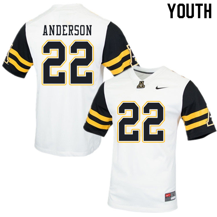 Youth #22 Raykwon Anderson Appalachian State Mountaineers College Football Jerseys Sale-White