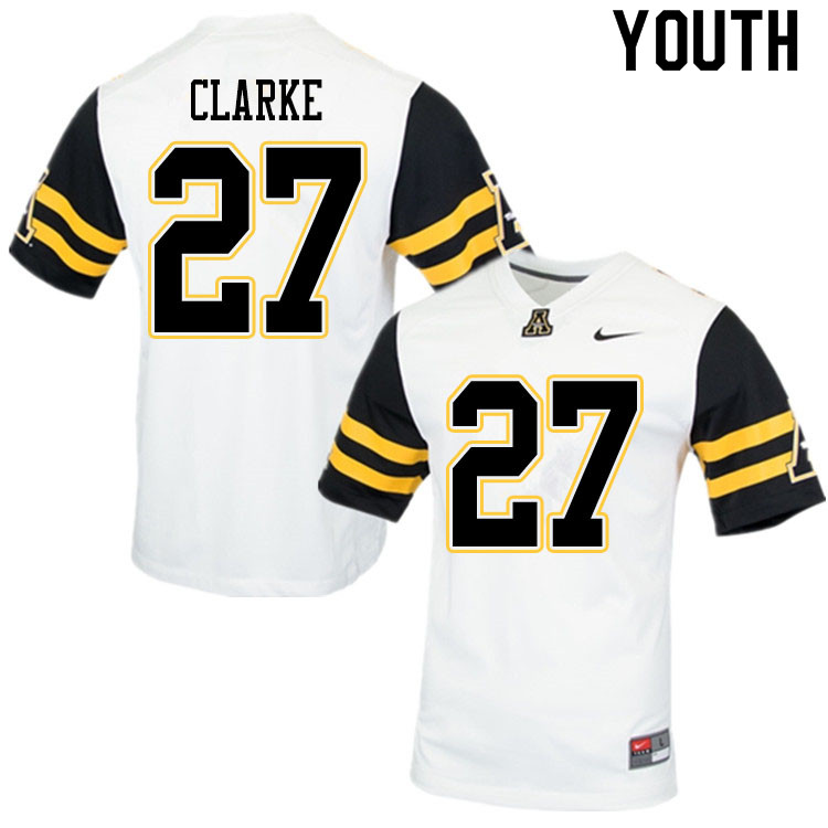 Youth #27 Ronald Clarke Appalachian State Mountaineers College Football Jerseys Sale-White