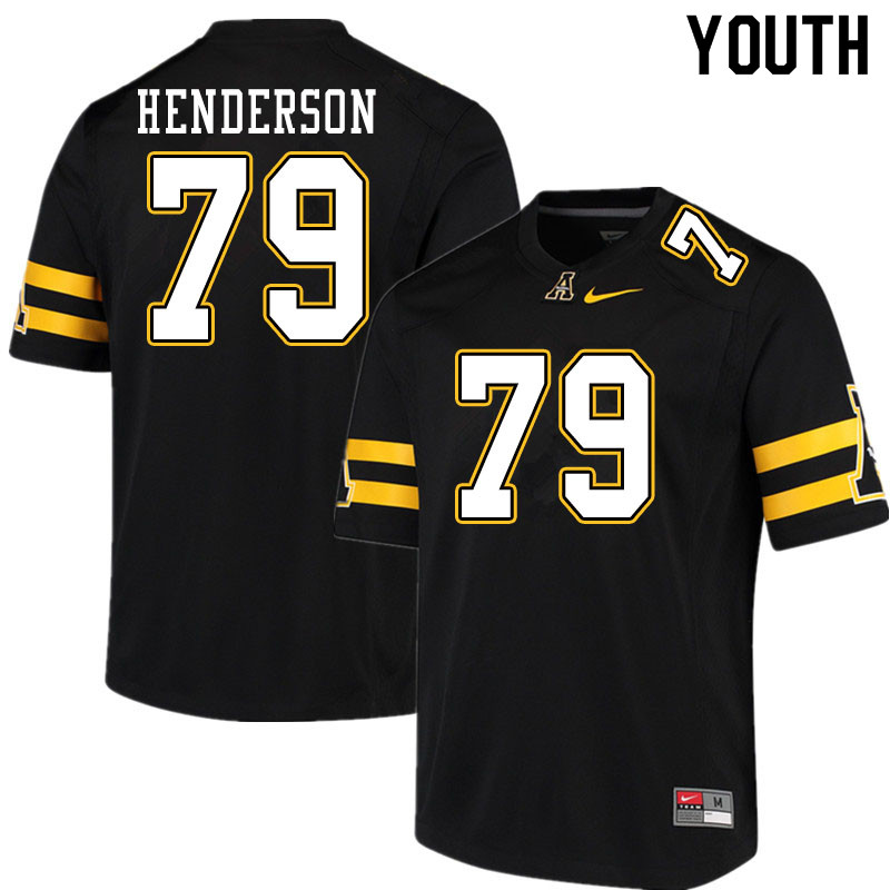 Youth #79 Sammy Henderson Appalachian State Mountaineers College Football Jerseys Sale-Black