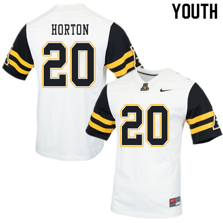 Youth #20 Sean Horton Appalachian State Mountaineers College Football Jerseys Sale-White