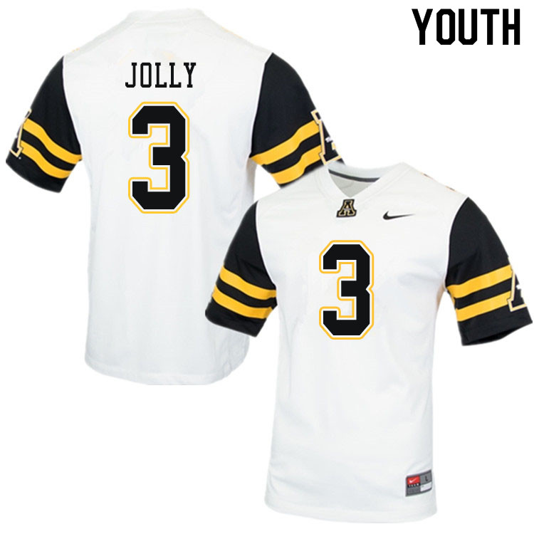 Youth #3 Shaun Jolly Appalachian State Mountaineers College Football Jerseys Sale-White
