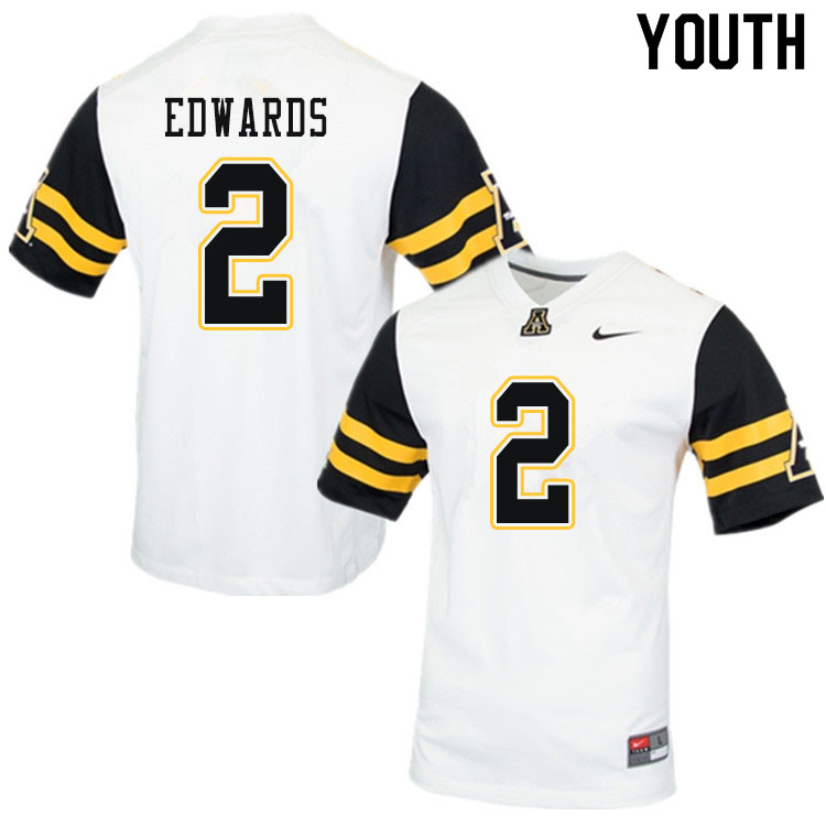 Youth #2 Willie Edwards Appalachian State Mountaineers College Football Jerseys Sale-White